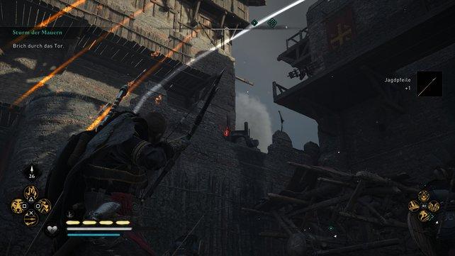 Wenn ihr das Tor stürmt, solltet ihr die Ölkessel und die Rutten auf den Mauern zerstören, um den Weg frei zu machen.