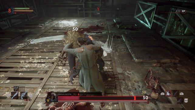 Auch Bosse könnt ihr auf diese Weise ausknocken und attackieren.