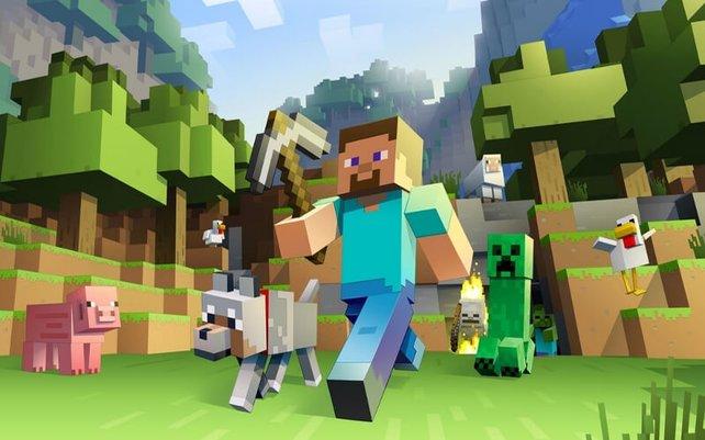 Hinten rechts: der Creeper aus Minecraft. Ein undefinierbarer Pixelhaufen - von allen erkannt.