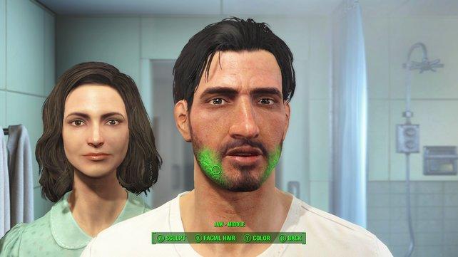 In Fallout 4 kann ich sogar das Gebiss des Helden formen. Die Stimme ist immer die selbe.
