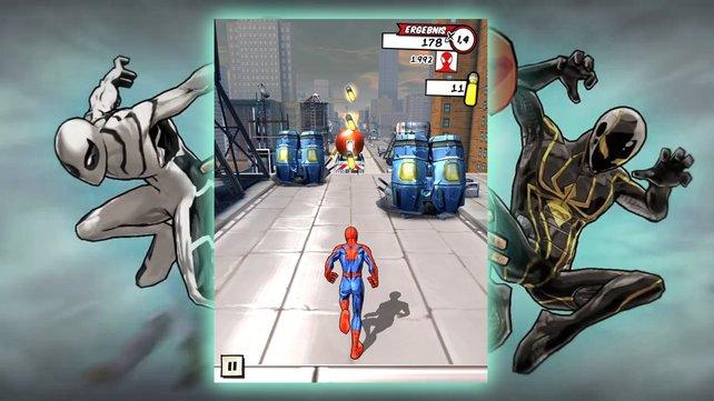 Spider-Man rennt automatisch, während ihr ihn um Hindernisse bugsiert.