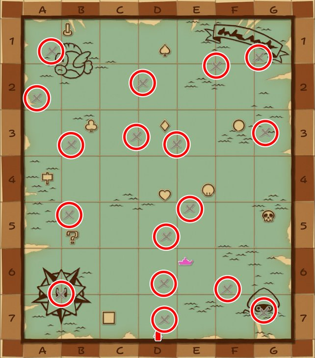 Die roten Kreise heben die Schätze auf der Seekarte hervor.