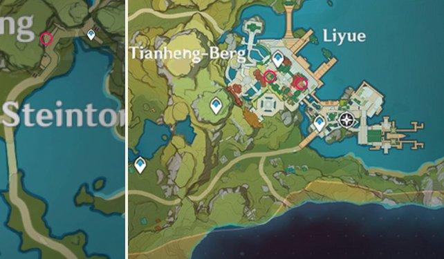 """Alle Fundorte der """"Legende der zerbrochenen Hellebarde""""-Bücher auf der Karte von Genshin Impact."""