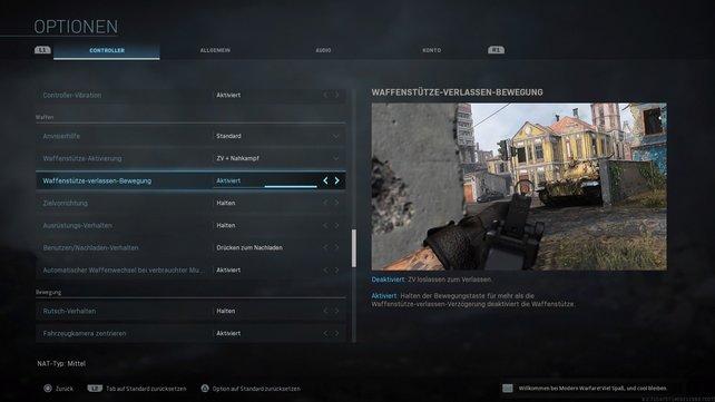 Im Menü könnt ihr Anpassungen vornehmen, wie ihr euch in CoD Modern Warfare zur Seite lehnen wollt.