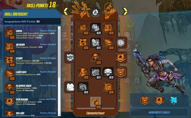 Etwa 70% aller Skill-Punkte wandern in den orangefarbenen Talentbaum im Elemente-Build.