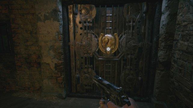 Hinter dieser Geheimtür findet ihr in Heisenbergs Fabrik einen Zylinderschatz.