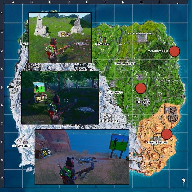 Die Karte zeigt euch die Standorte der drei Schießstände.