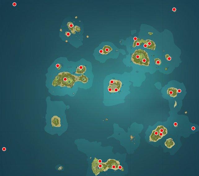 Die Karte zeigt euch die Fundorte der 32 Echoschnecken.