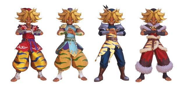 Kevins Tier-3-Klassen von links nach rechts: Göttliche Faust, Kriegermönch, Tödliche Faust und Erleuchtet.