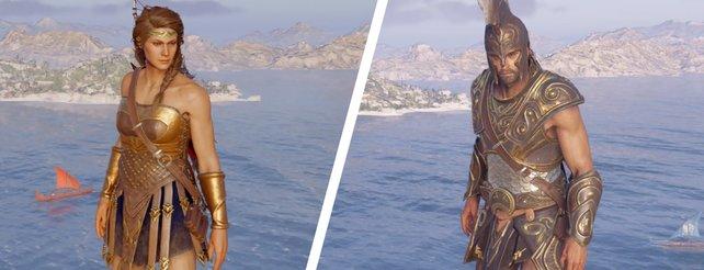 Diese zwei Rüstungen gibt es exklusiv nur für Kassandra (Amazonen-Set) bzw. Alexios (Achilleus-Set).