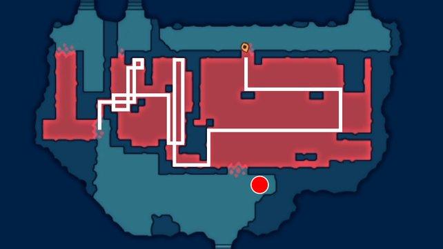 Die weißen Linien zeigen euch die Lösung und der rote Kreis ist der Fundort des Kleeblatts.