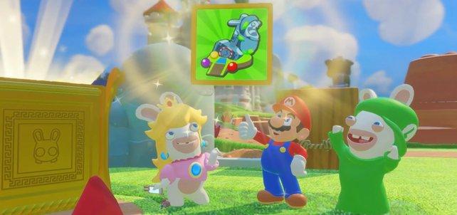 Mario und die Rabbids freuen sich über eine neue Waffe.