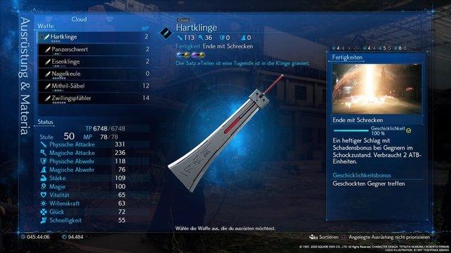 Die Hartklinge wird zur besten Waffe für Cloud, wenn ihr sie maximal aufwertet.
