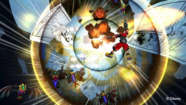 Jetzt geht's ab! Sora beweist, dass er seit den frühen Tagen von Kingdom Hearts nichts verlernt hat.