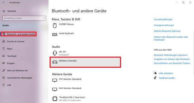 Verbindet ihr euren PS5-Controller per mit eurem PC, könnt ihr unter den Einstellungen sehen, ob alles geklappt hat.
