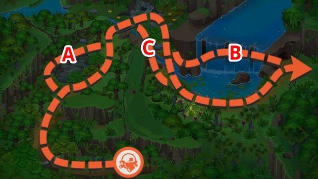 Dschungel-Karte mit allen Routen.