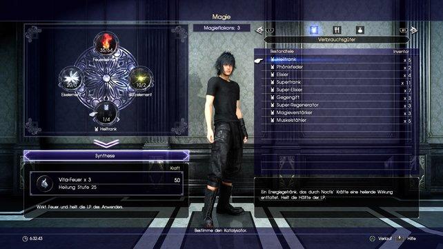 Im Menü von Final Fantasy XV befüllt ihr eure Magieflakons mit Elementen und Katalysatoren.