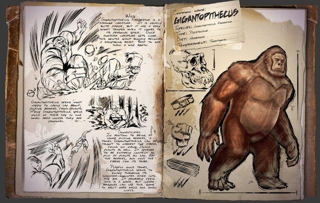 Der Gigantopithecus kommt dem uns bekannten Affen schon sehr nahe. (Bildquelle: ark.gamepedia.com)