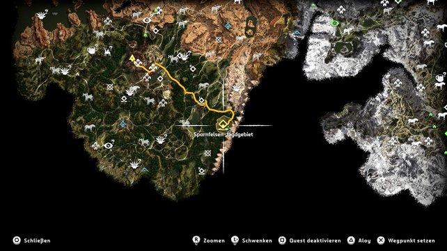 Die Karte zeigt euch den Weg in das Spornfelsen-Jagdgebiet.