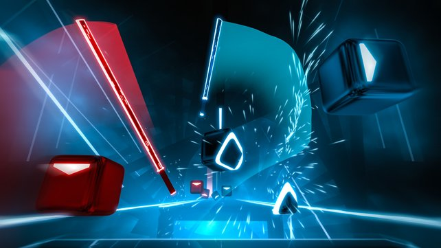 Im Spiel Beat Saber dürft ihr mit Laserschwertern rhythmisch Würfel zerteilen.