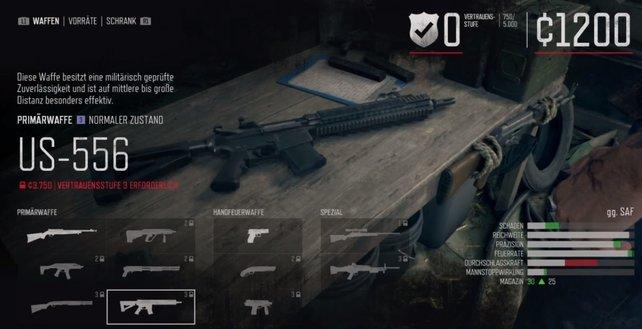 Erst, wenn ihr das Vertrauen im Camp erhöht, könnt ihr bessere Waffen kaufen.