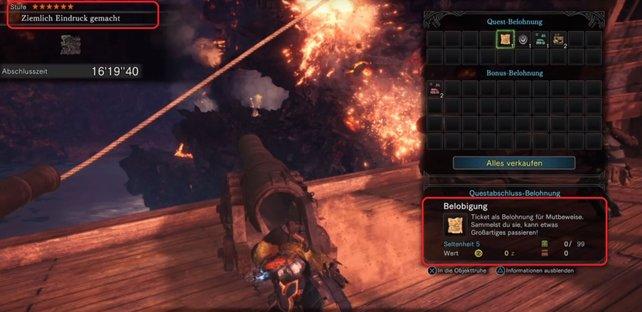 Schließt ihr bei Monster Hunter World diese Mission ab, werdet ihr eine Belobigung erhalten.