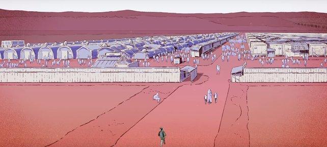 Ein Screenshot aus dem Spiel. Nour ist kurz vor einem Auffanglager.