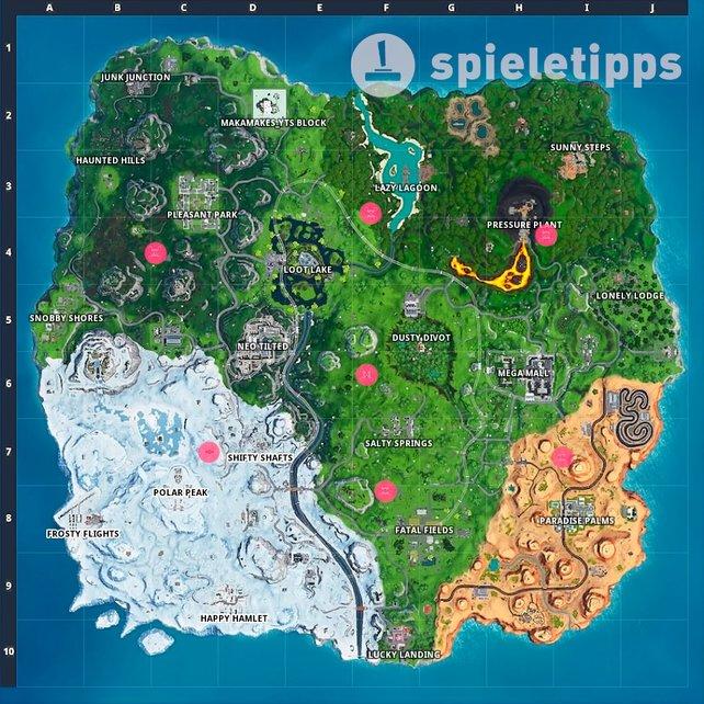 Rote Kreise markieren euch die Fundorte der Himmelsplattformen. Schaut dort mal nach oben!
