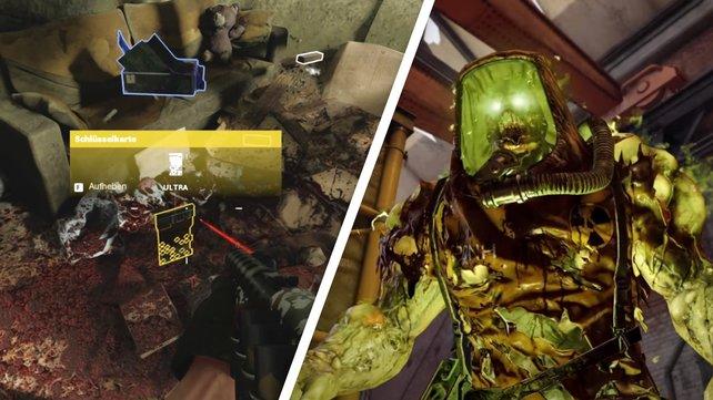 Die Schlüsselkarte (links) könnt ihr leicht übersehen, den Megaton-Zombie (rechts) nicht.