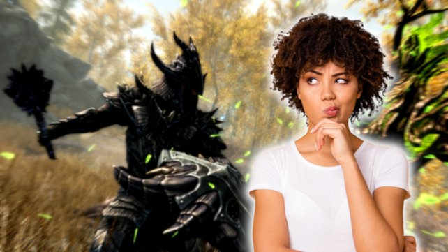 Ein Skyrim-Fan unterstützt Bethesda. Bildquelle: Getty Images/ Deagreez