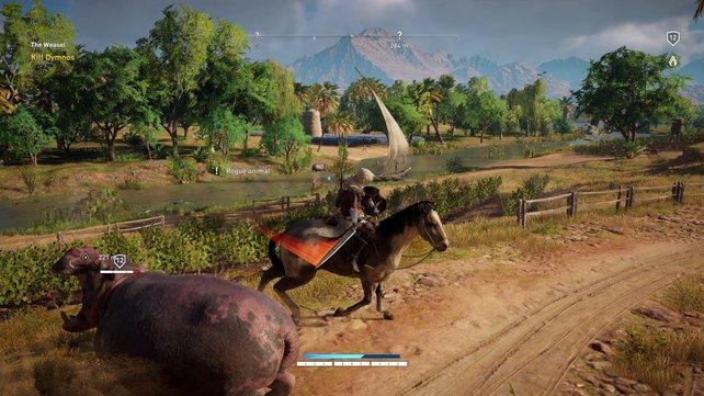 Gleichzeitig zu reiten und anzugreifen erfordert Übung, funktioniert aber mit sämtlichen Waffen erstaunlich gut.