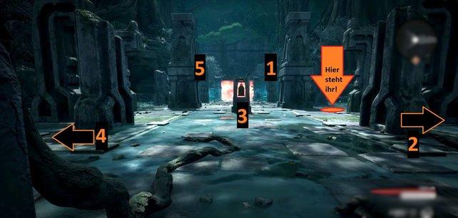 Die Glocken 1 und 5 verstecken sich hier im Bild etwas hinter den Säulen.