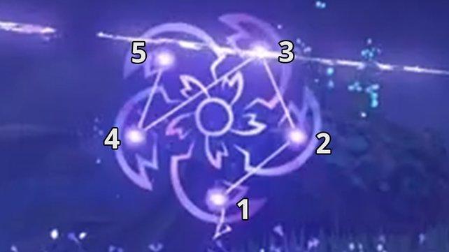 Das Bild zeigt euch die Lösung für das Muster in der ersten Runde.