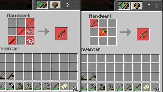 Angel herstellen: Links seht ihr das Rezept für die normale Angel, rechts seht ihr das Rezept für eine Karottenrute.