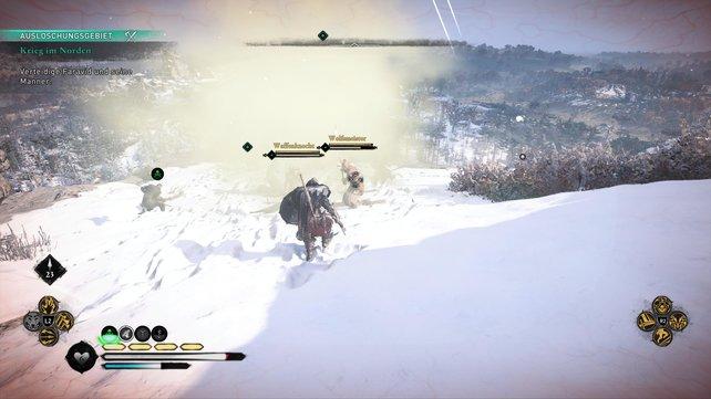 Neben den Bogenschützen kommen aber auch noch mehrere reguläre Pikten-Krieger, die ihr im Nahkampf bezwingen müsst.