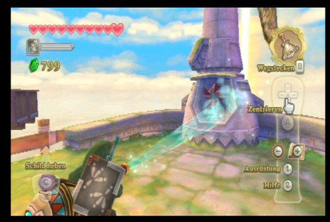 Ist das fehlende Windrad gefunden, dann richtet den magischen Krug auf beide Türme und richtet sie aus.