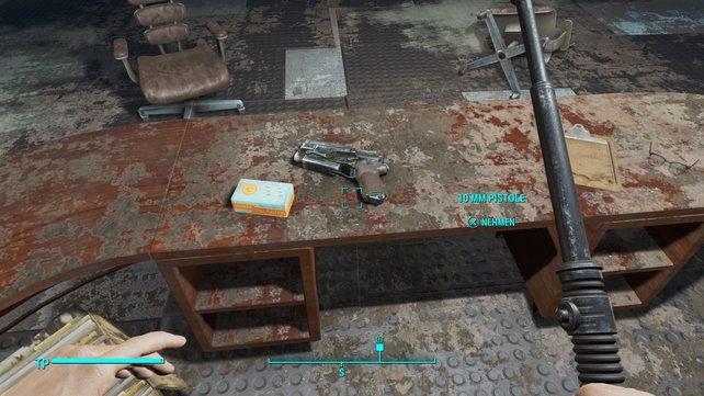 Ohne Pistole solltet ihr euch nicht aus dem Bunker wagen.