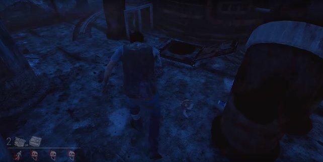 Dead by Daylight: Diese Falltür könnt ihr immer an dieser Stelle finden - zwischen den beiden Rohren.