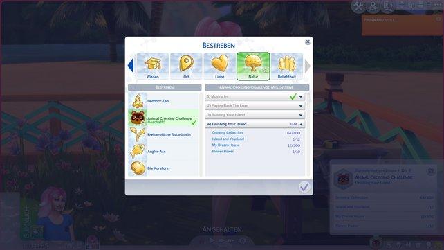 In der Bestrebensübersicht seht ihr alle Teilbereiche der Animal Crossing Challenge im Überblick.