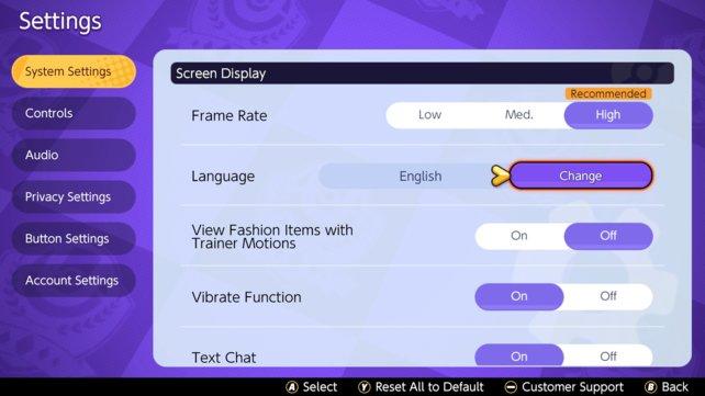 In diesem Menü könnt ihr die Sprache in Pokémon Unite ändern.