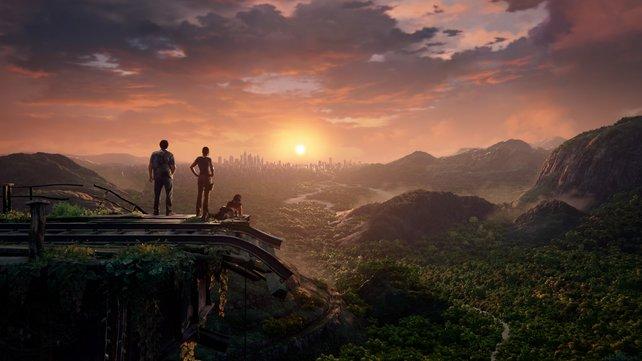 Während ihr euch die Trophäen in Uncharted - The Lost Legacy schnappt, könnt ihr schöne Aussichten wie diese hier genießen.