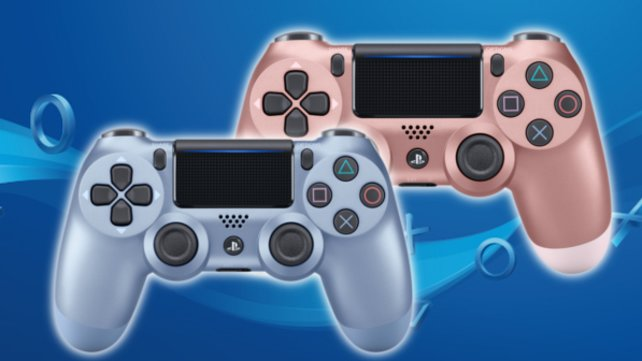 Titanium Blue (vorne) und Rose Gold: Zwei der neuen Controller-Designs von Sony.