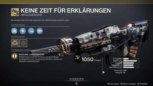"""Vollautomatisches Impulsgewehr mit Feuerunterstützung: """"Keine Zeit für Erklärungen""""."""