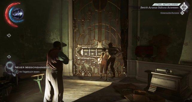 """Mission 6 """"Der Staubbezirk"""": Die goldene Tür mit Jindoshs-Rätsel-Schloss."""