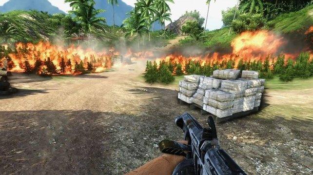 Dieses Level aus Far Cry 3 lässt euch ein Marihuanafeld mit einem Flammenwerfer niederbrennen.