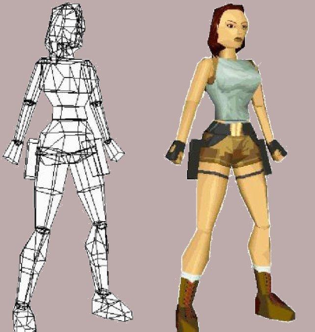 Lara Croft in ihre Einzelteile zerlegt.