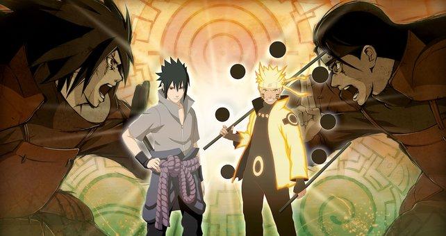 Hinten: Madara Uchiha und Hashirama Senju. Vorne: Sasuke Uchiha und Naruto Uzumaki