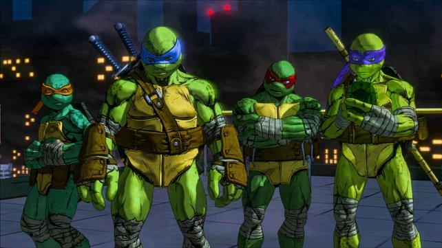 Die klassischen Turtles im Cell-Shading-Look.