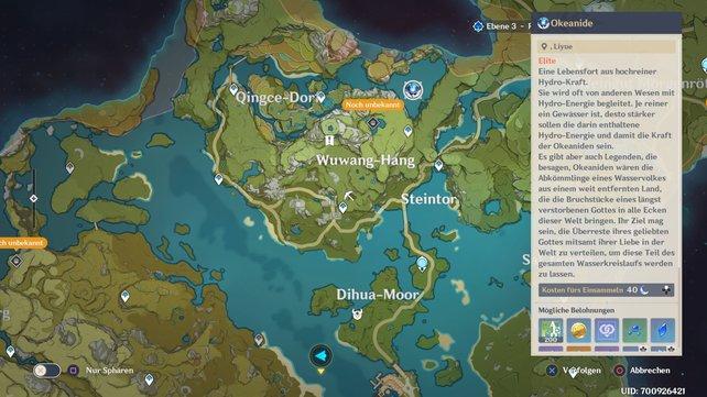 Hier findet ihr den Okeaniden auf der Karte.