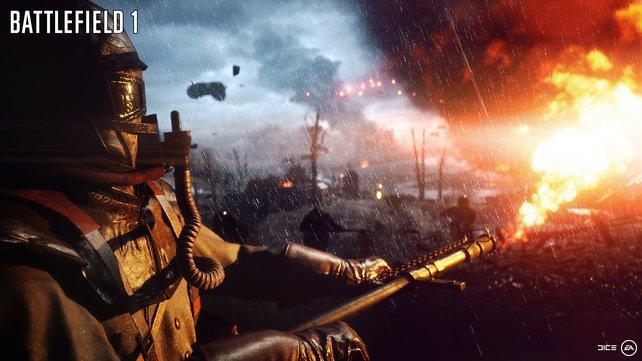 Der Flammenwerfer, eine der schrecklichen Waffen des echten Ersten Weltkriegs.